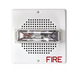 E70-24MCW-FW Speaker/Strobe, Square, SELECTABLE (15/30/75/110Cd), Wall Mount, White, 24V